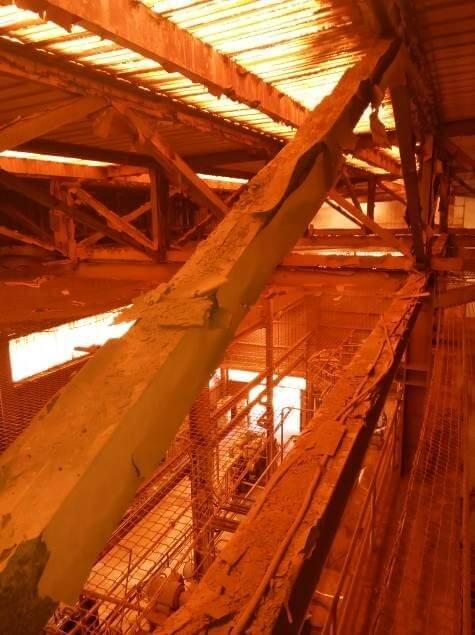 Estudio patológico de la estructura metálica de la cubierta nave planta de alúmina