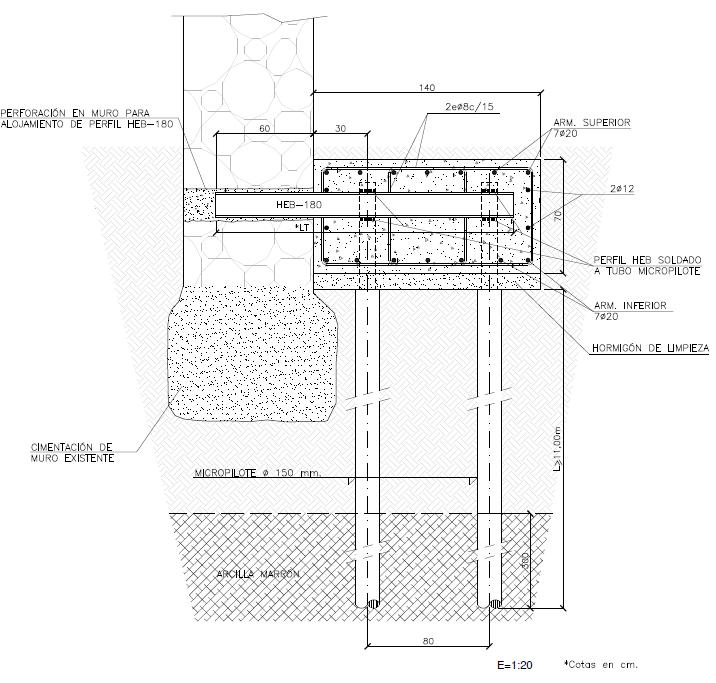 Cálculo del recalce de la cimentación de la iglesia y perforación muro