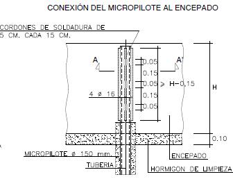 Cálculo del recalce de la cimentación iglesia conexión del micropilote al encepado
