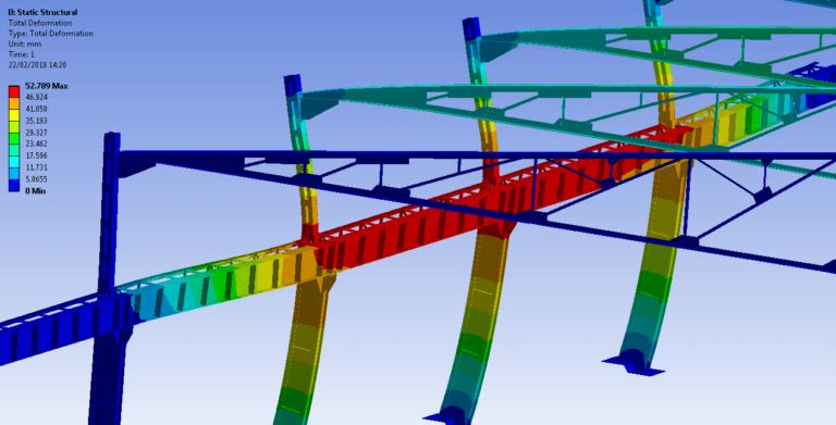 Estudio de estructura de nave de chatarra que soporta un puente grúa