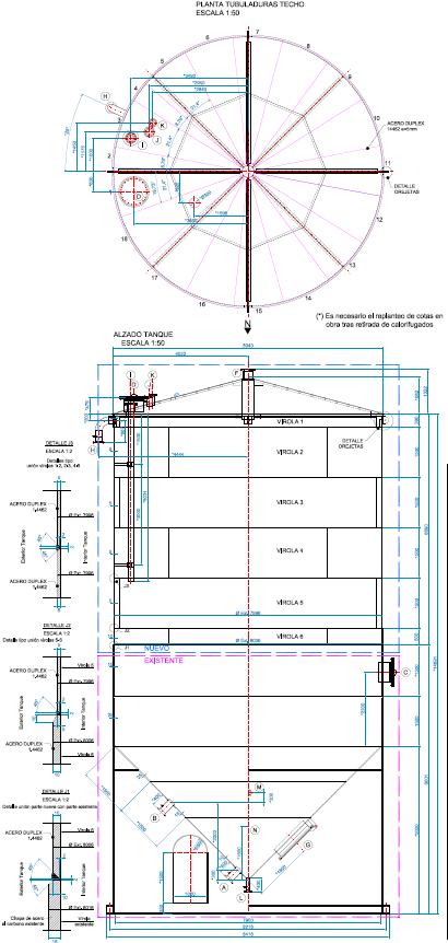 Proyecto de reparación de tanque de almacenamiento de fluido industrial: planos